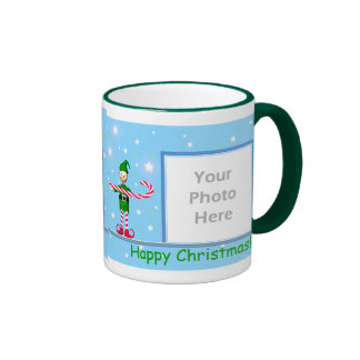Blue Christmas Candy Cane Elf 2-Photo Frame Coffee Mugs