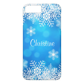 Blue Christmas Chic White Snowflakes Case-Mate iPhone Case