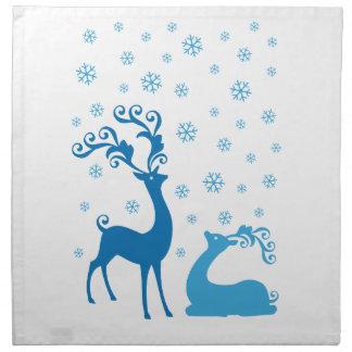 Blue Christmas deer in snowfall Napkins