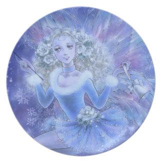 Blue Christmas Fairy Plate