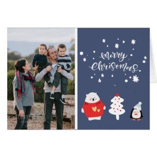 Blue Christmas Family Photo Card