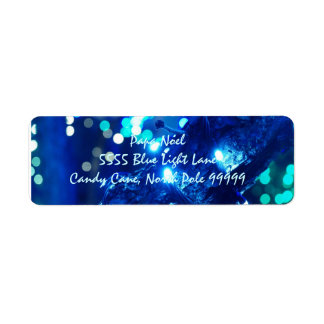 Blue Christmas Lights Address Labels