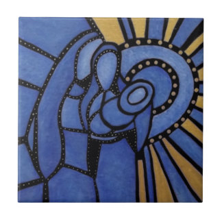 Blue Christmas Modern Holy Family Tile