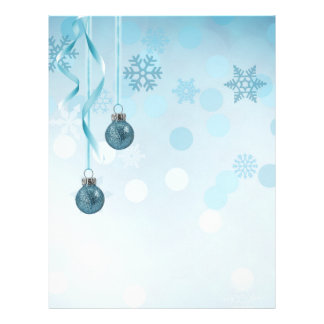 Blue Christmas Ornaments - Letterhead Stationery