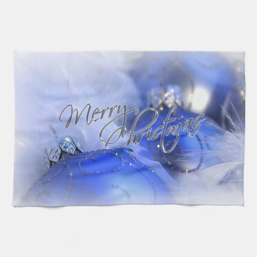 Blue Christmas Ornaments Merry Christmas Kitchen Towels