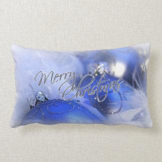 Blue Christmas Ornaments Merry Christmas Throw Pillow