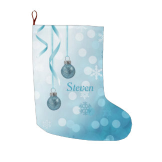 Blue Christmas Ornaments - Stockings Large Christmas Stocking