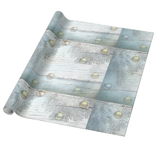 Blue Christmas Ornaments Wrapping Paper