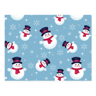 Blue Christmas Pattern With Snowmen And Snowflakes Postcard