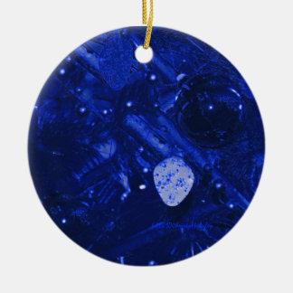Blue Christmas Round Ceramic Ornament