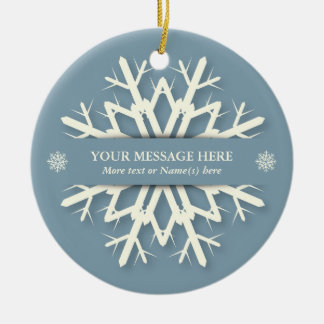 Blue Christmas Snowflake + Name and Message Photo Ceramic Ornament
