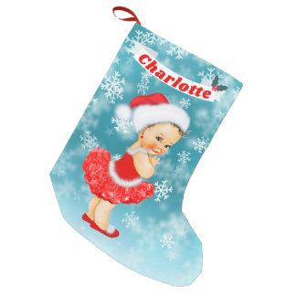 Blue Christmas Snowflakes Santa Baby Girl Name Small Christmas Stocking