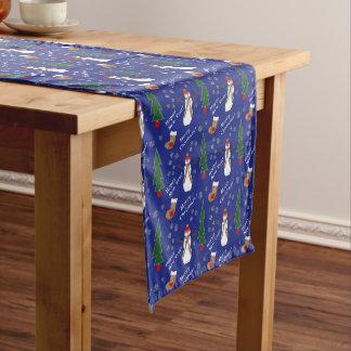 Blue Christmas Snowman Pattern Medium Table Runner