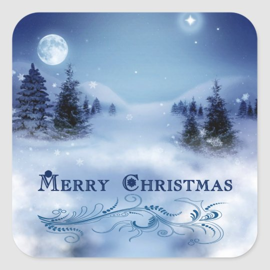 Blue Christmas Square Sticker