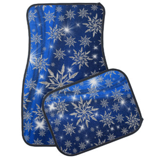 Blue Christmas stars with white ice crystal Car Mat