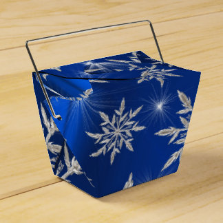 Blue Christmas stars with white ice crystal Favor Box