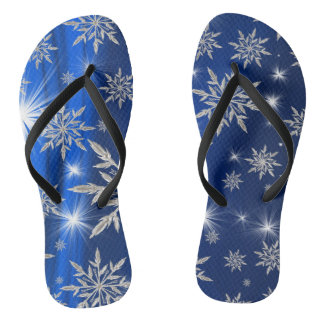 Blue Christmas stars with white ice crystal Flip Flops