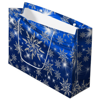 Blue Christmas stars with white ice crystal Large Gift Bag
