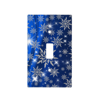 Blue Christmas stars with white ice crystal Light Switch Cover