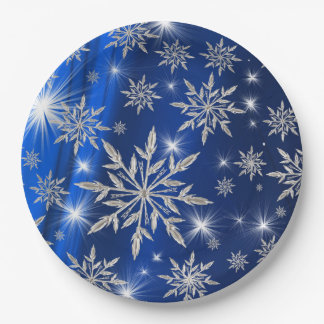 Blue Christmas stars with white ice crystal Paper Plate