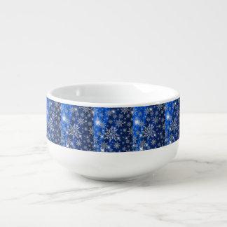 Blue Christmas stars with white ice crystal Soup Mug