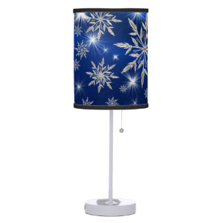 Blue Christmas stars with white ice crystal Table Lamp