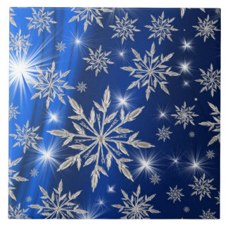 Blue Christmas stars with white ice crystal Tile