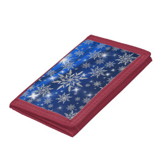 Blue Christmas stars with white ice crystal Tri-fold Wallets
