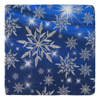 Blue Christmas stars with white ice crystal Trivet