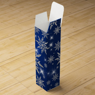 Blue Christmas stars with white ice crystal Wine Gift Box