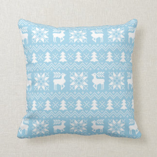 Blue Christmas Sweater Reindeer Poinsettias Design Throw Pillow