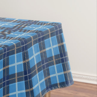 Blue Christmas Tartan Plaid Holiday Tablecloth
