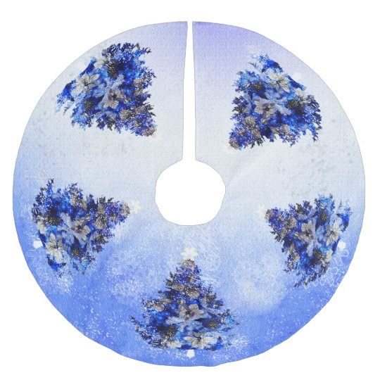 blue christmas tree brushed polyester tree skirt