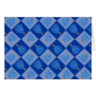 Blue Christmas Tree Colorful Holiday Pattern Card