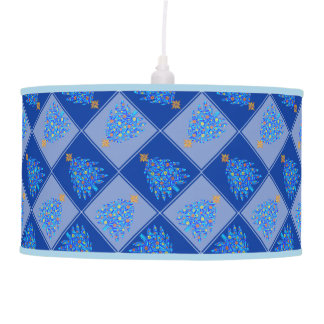 Blue Christmas Tree Colorful Holiday Pattern Ceiling Lamps