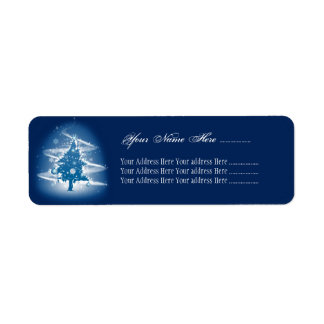 Blue Christmas Tree Fancy Elegant Decorations Return Address Label
