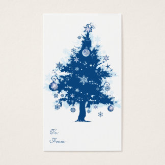 Blue Christmas Tree Gift Tag