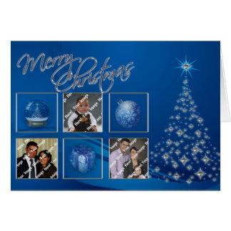 Blue Christmas Tree Photo Card