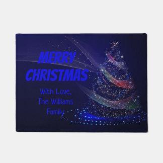 Blue Christmas Tree Stars String of Lights Elegant Doormat