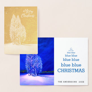 Blue Christmas Trees Original Spruce Pine Fir Foil Card