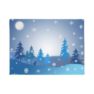 Blue christmas winter scene doormat