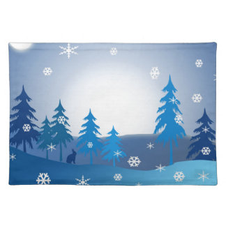 Blue christmas winter scene placemat