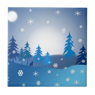 Blue christmas winter scene tile