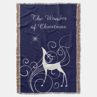 Blue Christmas Wonder Silver Reindeer Throw Blanket