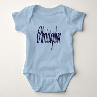 Blue Christopher Name Logo, Baby Bodysuit