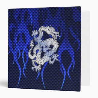 Blue Chrome like Dragon Carbon Fiber Style 3 Ring Binder