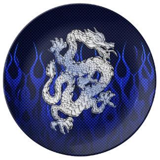 Blue Chrome like Dragon Carbon Fiber Style Plate