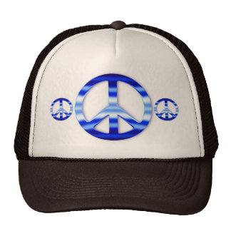 Blue Chrome Peace Sign Trucker Hats