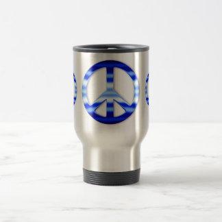 Blue Chrome Peace Sign Coffee Mug