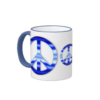 Blue Chrome Peace Sign Coffee Mugs